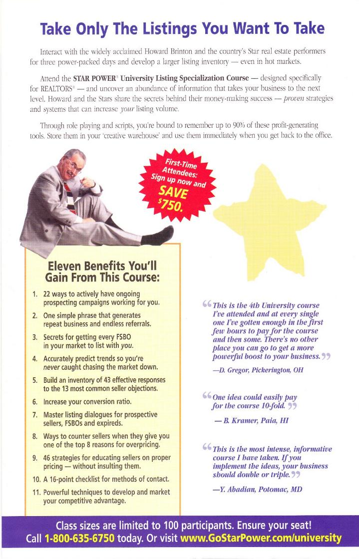 Howard Brinton's STAR POWER® University Self-Mailer
